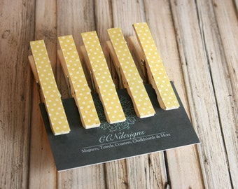Yellow Polka Dot Clothespin Magnets, Set of 5