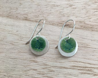 Christmas Tree Stamped Earrings with Green Glass Accent