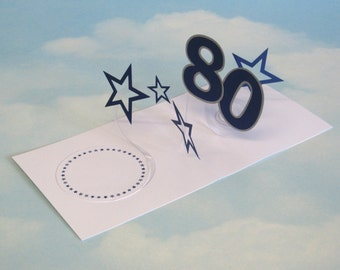 80th Birthday Card Spiral Pop Up 3D - Blue Stars – 80th Birthday Spiral Pop Up Card - PopUp Card
