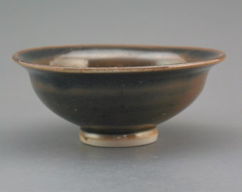 Small Bowl, wood-fired porcelain w/ cool black and natural ash glazes