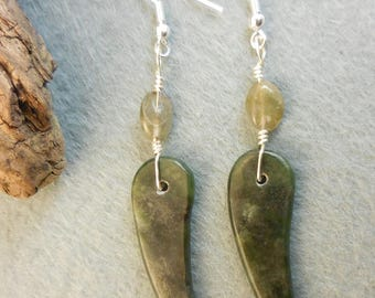 Carved stone claw wire wrapped earrings