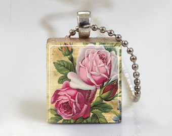 Vintage Altered Art Pink Roses - Scrabble Tile Pendant - Free Ball Chain Necklace or Key Ring