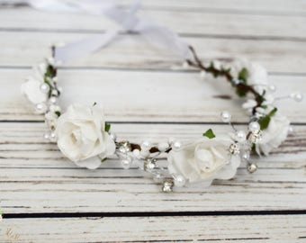 Handcrafted White Rose Rhinestone and Pearl Flower Crown - Bridal Flower Crown - White Flower Girl Halo -Small Flower Crown - White Headband