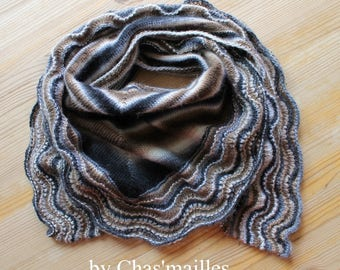 Slate gray, natural and Brown scarf