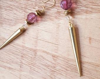Purple x Gold Earrings // long earrings // Gold Spikes // hypoallergenic // modern // bold