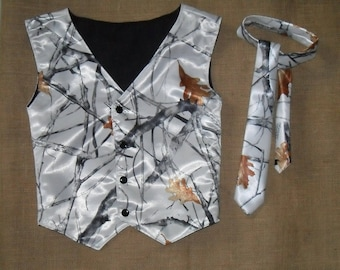 2 pc Boys and Men Camo vest and tie set Great for weddings #10 realtree  Fall-satin in fabric selection.. 22 camo colors