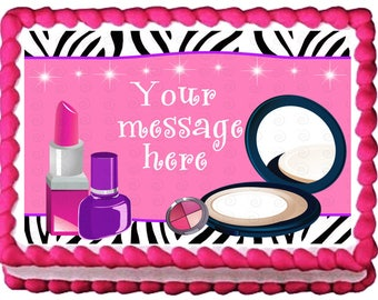 MAKEUP edible cake topper party image