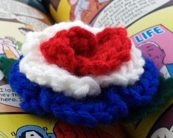 Crocheted Rose Bar Pin - Red, White, and Blue (SWG-PS-HEAM01)