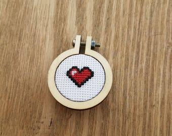 8 bit cross stitch heart pendant