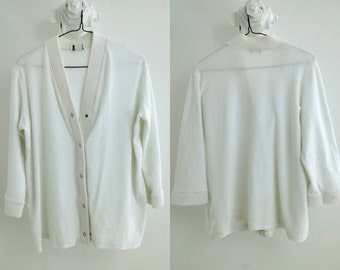 Vintage White Terry Cloth Beach Cover-up / Medium-Large