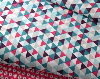 50cm of fabric printed 100% cotton small triangles roe/beige/blue