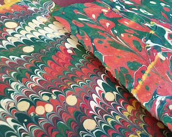 Alligator Gas - Hand Marbled Paper Set of Two - Spot Pattern Lokta Paper Muted Gold Red and Green Nepal