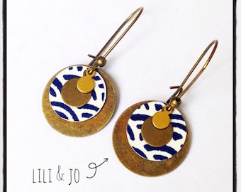 Japanese collection: Earrings fan patterns, Navy and white
