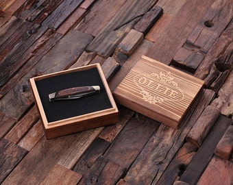 Set of 2 - Personalized Wood Engraved Monogrammed 3 Blade Pocket Knife with Gift Box Groomsmen, Father's Day Gift For Men (024912)