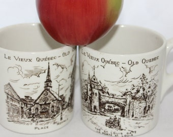 Pair of La Vieux Quebec Wood & Sons Mugs -- Old Quebec, English Ironstone -- St Louis Gate, Place Royale, Scenes of Quebec -- England
