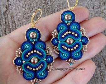 Blue Aquamarine Earrings - Soutache Earrings - Hand Embroidered Soutache Jewelry - Blue Gold Chandelier Earrings