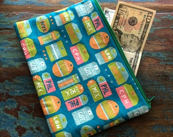 medium zipper pouch wanderlust
