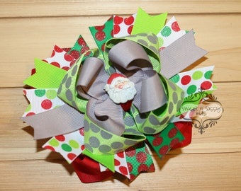 Santa Claus, Boutique, Over-The-Top, Hair Bow, Red, Green
