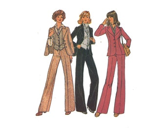"Simplicity 7214, 70s sewing pattern, size q2 bust 34"" women's pants pattern, blouse pattern, ascot pattern, lined vest"