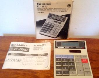 Vintage Solar Cell Calculator. Sharp EL-361D. Early 1980's.
