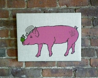 Surrealist Pig Screen Print on Linen - Wall Art, Kitchen Decor, Gourmet Gift, Pig Print, Pig with Apple, Modern Farmhouse, Ready to Ship