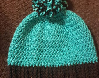 Adult size slouch hat. Teal blue and black with pom pom