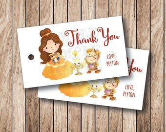 10 Personalized Belle Favor Tags, Beauty and The Beast Tags, Belle Party Tags, Princess Belle Thank You Tags . 2 x 3.5 inches
