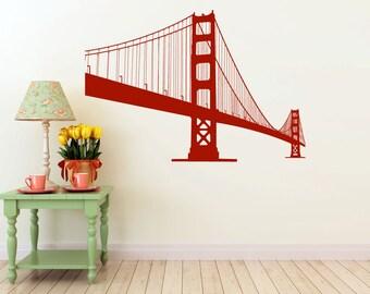 large Golden Gate Bridge vinyl Wall DECAL- San Francisco urban city interior design, sticker art, room, home and business decor