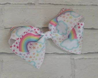 "Large 8"" Pastel Stars & Rainbow Boutique Hair Bow with alligator clip like JoJo Siwa Bows Dance Moms Signature Keeper Cheer Christmas gift"