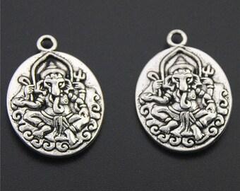 10pcs Antique Silver Ganesha Elephant Buddha Charms Pendant A2258