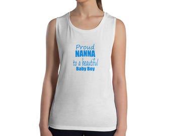 Proud Nanna to a Beautiful Baby Boy Sleeveless Top - Womens