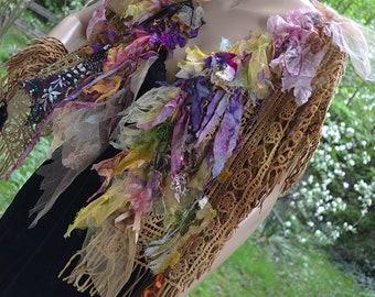 Unique Art To Wear Openwork Summer Cotton LX Jacket/Vest POCAHONTAS MATOAKA Fairy  Boho Hippie Tattered Gipsy