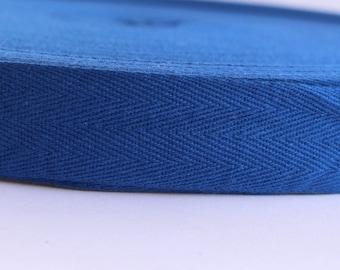 Cotton Twill Tape Blue 30 yards 1 inch Wholesale Herringbone Straps Binding