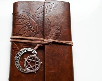 Brown journal pentagram moon charm design jotter notebook diary