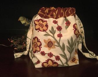 Drawstring Knitting Project Bag, Blooms