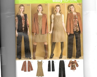 Simplicity Misses' /Women's Pants, Jumper or Top and Jacket or Vest and Belt Pattern 2866
