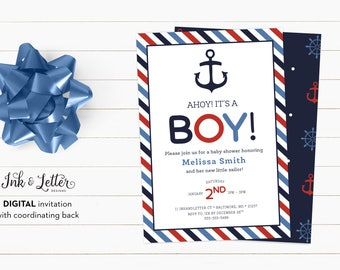 Nautical Baby Shower Invitation - Ahoy Its a Boy Invitation - Printable Baby Shower Invitation - Boy Shower Invite - Digital Invite