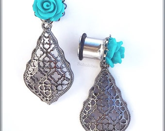 Bohemian dangle Teal rose gun metal SINGLE flare tunnels or plugs for gauged or stretched ears: Sizes 4g 2g 1g 0g 00g 5mm 6mm 7mm 8mm 10mm