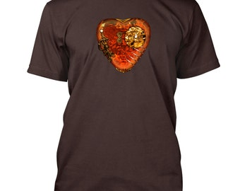 Steampunk Liquid Heart T-Shirt by June Elliott Design