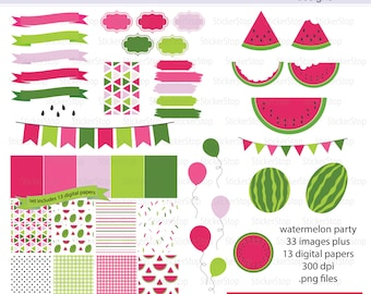 Watermelon Party Paper Pack and Digital Clipart - Instant download PNG files