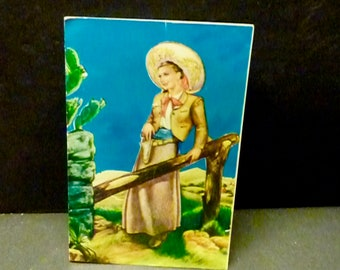 Mexican 1961 Vintage Cowgirl Post Card-Used- Color sketch