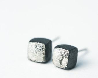 Black studs, tiny earrings for men, mens earrings, mens stud, matte black earrings, black stud earrings, contemporary earrings, S009
