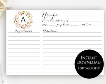 editable recipe card template free