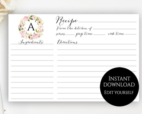Recipe Card Template Editable Recipe Cards Monogram Recipe Card