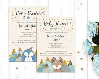 Woodland baby shower invitation, Printable invitation, Invitation for digital download, Baby shower invitation, Custom wording invitation