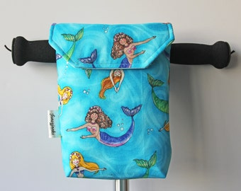 Cute Mermaids on Turquoise Micro Scooter or bicycle bag. Great gift for Children. Gift for Girls.