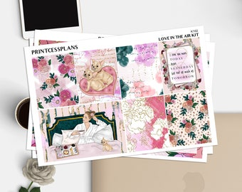 Love In The Air Kit   Planner Stickers for Erin Condren Vertical   Weekly Planner Kit