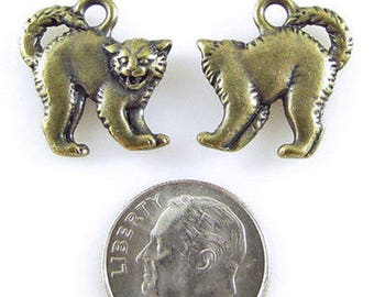 TierraCast Pewter Halloween Charms-Brass Oxide SCARY CAT (2)