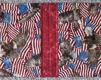 Patriotic Table Runner, Table topper for 4th of July,  Military, American Eagle, USA, US Flag, American flag, Bald Eagle, 4th of July runner