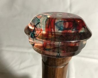 Cane or walking stick handmade resin top
